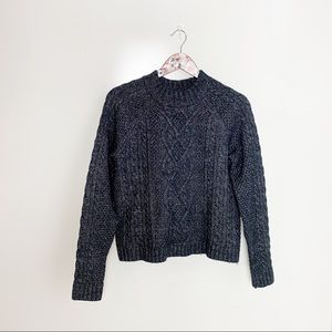 ABERCROMBIE & FITCH Navy Blue Cable Knit Sweater S